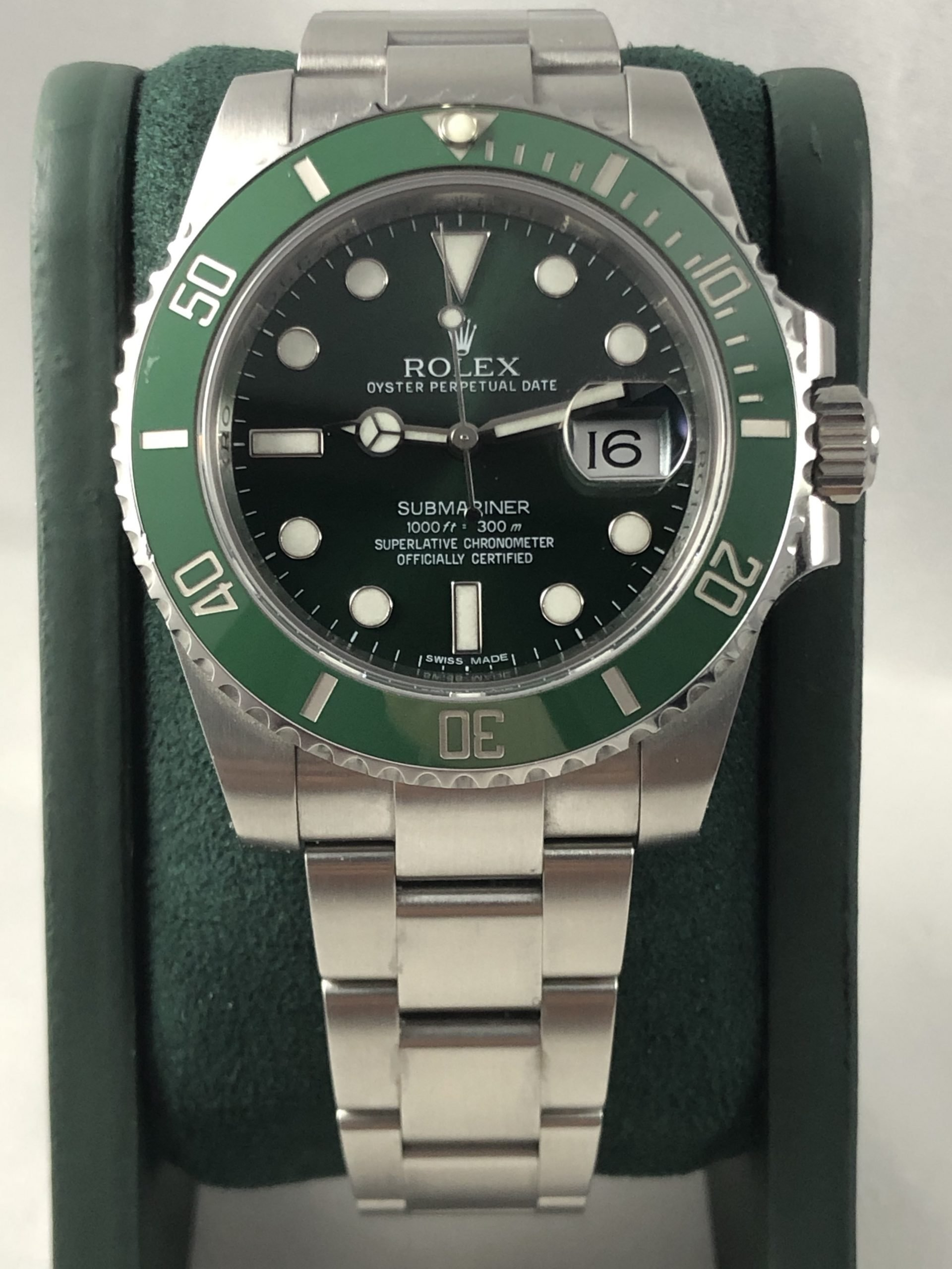 rolex-submariner-hulk-ghiera verde-scatola e garanzia-minuti preziosi